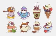 Vector Cat Stickers. Illustrat...