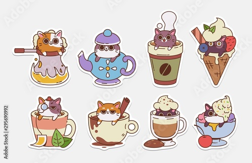 Vector Cat stickers. Illustrations of drinks With cute cats. Hot Drinks and ice cream