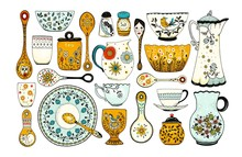 Set Of Hand Drawn Tableware It...