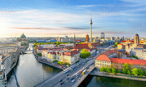 Keuken foto achterwand Berlijn Berlin cityscape with Berlin cathedral and Television tower, Germany