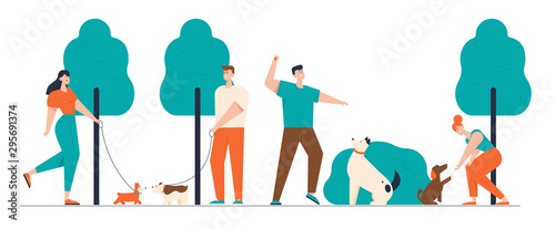 Pinturas sobre lienzo  People Spending Time with Pets Outdoors