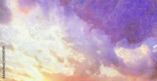 Foto auf AluDibond Lachs Beatiful Sky with Clouds Expressive Painting Aesthetic