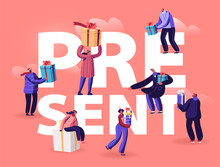 People Give And Get Presents Concept. Male And Female Characters Prepare Gifts For Christmas And New Year Party Celebration, Xmas Holidays Poster Banner Flyer Brochure Cartoon Flat Vector Illustration