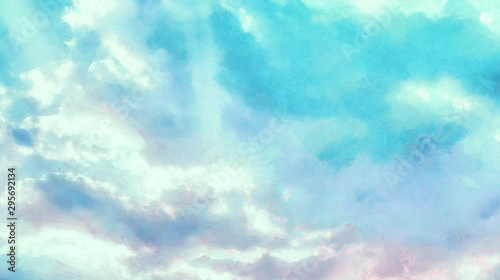 Foto auf Leinwand Turkis Beatiful Sky with Clouds Expressive Acryllic Painting