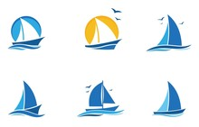 Blue Sailing Boat Logo Set. Icon Abstract Vector Template. Sailboat On The Waves. Vector Illustration