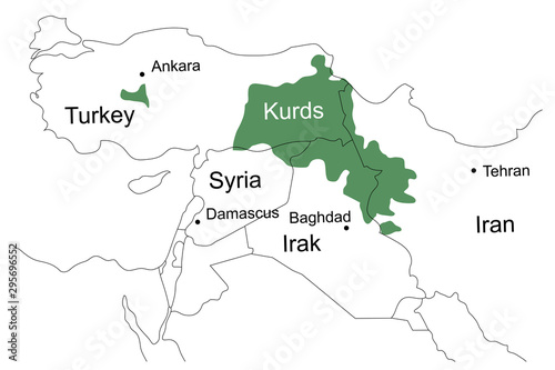 Fotomural  Location of the Kurds on the map of the Middle East