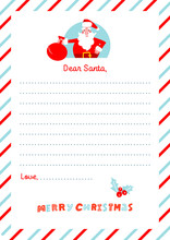 A4 Christmas Letter To Santa Claus Template. Decorated Paper Sheet With Canta Character Illustration And Had Drawn Lettering.