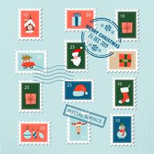 Christmas Santa Postage Stamps...