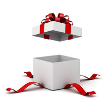 Present Box Or Blank Gift Box With Red Ribbon And Bow Open Isolated On White Background With Shadow 3D Rendering