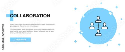Valokuvatapetti collaboration icon, banner outline template concept