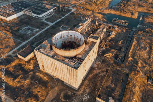 Fotografia Aerial view from drone of abandoned and ruined Nuclear Power Plant or station, r