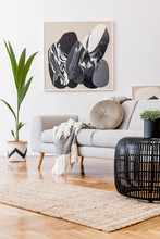 Stylish And Design Home Interior Of Living Room With Gray Sofa, Rattan Table, Lamp, Tropical Leaf, Plaid, Pillows And Elegant Decoration. Abstract Mock Up Paintings Frame On White Walls. Template.