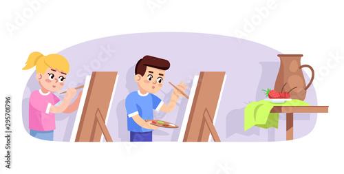 Art lesson for children flat vector illustration Canvas Print