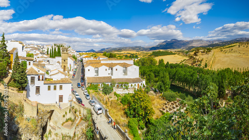 Autocollant pour porte Vieux rose Panoramic view of the city and neighborhood. Ronda, Spain, Andalusia.