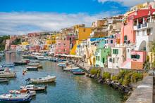 Colorful Harbour In The Beautiful Island Of Procida, Near Napoli, Campania Region, Italy.