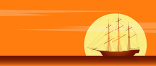 Old Sailing Ship Silhouette. Landscape With Old Sailing Ship In The Sea Over Orange Sky With Clouds At Sunset. Vector Illustration
