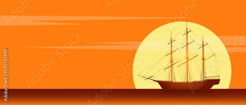 Fotografija Old sailing ship silhouette