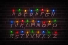 Christmas Lights On Wall. Light Font. Garlands. Vector Illustration