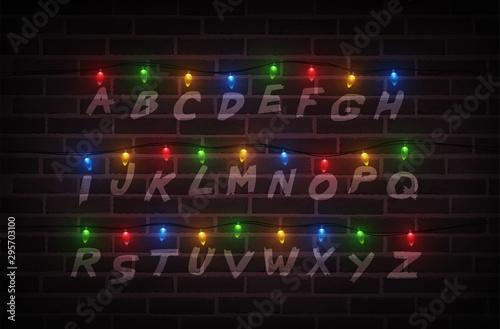 Christmas lights on wall Fototapeta