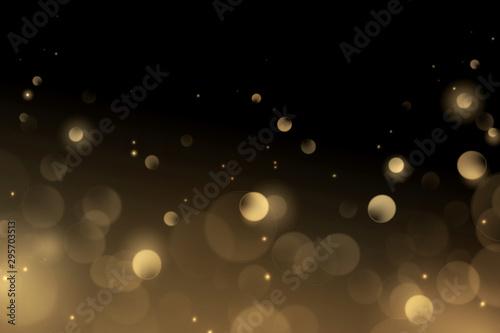 Fototapeta Luxury gold bokeh on black background for decoration obraz na płótnie