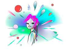 Abstract Watercolor Portrait Of A Little Space Girl, Vector Fashion Print
