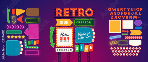 Obraz Retro signboard creator. Set elements for street sign. Scene creator, neon sign. Retro font. Advertising space.  - fototapety do salonu