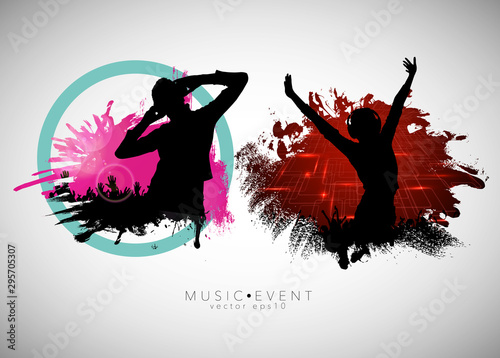 Obraz na plátně Party background with dancing people - vector illustration