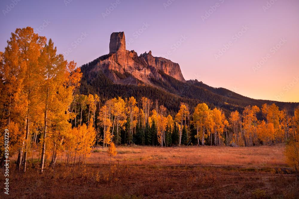 Fototapety, obrazy: Fall colors at Chimney Rock in Owl Creek Pass near Ridgeway, Colorado