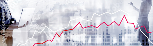 Fotografía Red and White Stock Market Graph. Web header or banner.