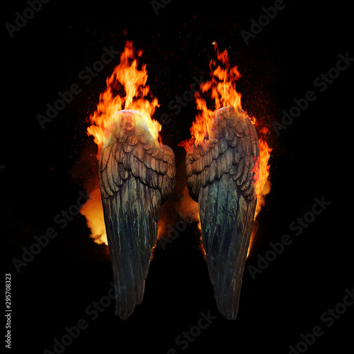 Wall Murals Fire / Flame Burning angel wings, dark atmospheric mood, fantasy background