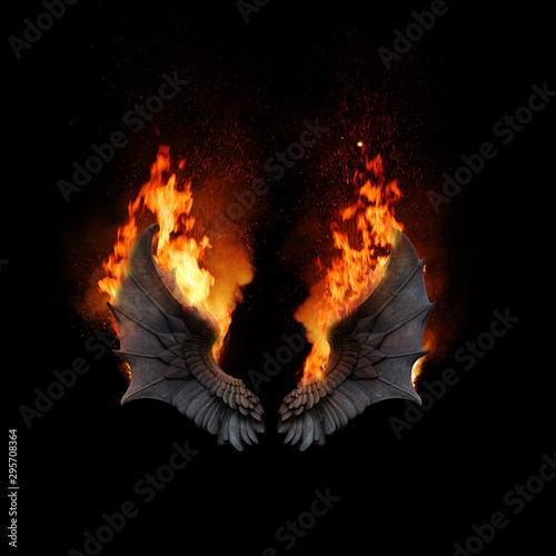 Photographie Burning dragon wings, dark atmospheric mood, fantasy background