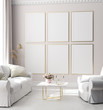 canvas print picture - Mock up poster frame in modern interior background, Scandinavian style, 3D render