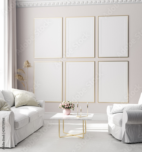 obraz PCV Mock up poster frame in modern interior background, Scandinavian style, 3D render