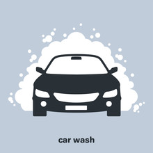 Car Wash Icon, Car In Foam, Flat Vector Image On A Gray Background