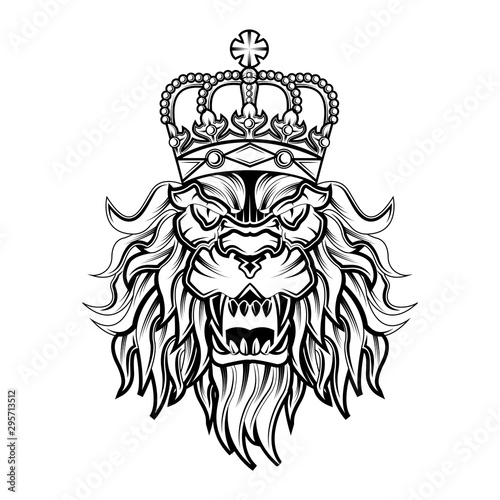 lion king logo illustration, lion king vector template Tablou Canvas