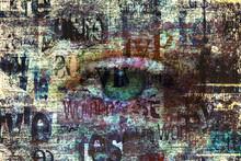 Contemporary Art Fashion Grunge Background. Beautiful Green Female Eye. Mixed Media.