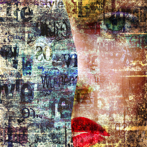 Contemporary art fashion woman portrait. Beautiful female face. Mixed media.