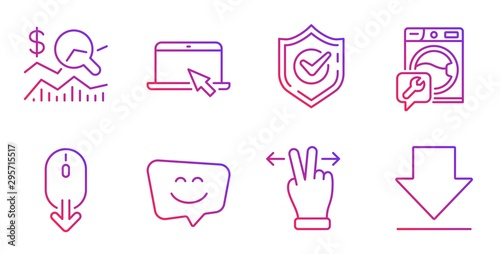 Fototapeta Confirmed, Portable computer and Washing machine line icons set