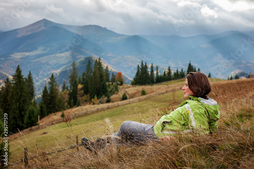 Hiker woman in moumtains in autumn Canvas Print