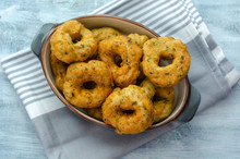 Traditional Turkish Pastry : Pişi ; Fried Dough In Oil With Dill
