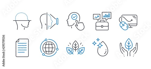 Photo Set of Science icons, such as Face scanning, Face id, Select user, File, Business portfolio, Organic tested, Water drop, Globe, Computer mouse, Fair trade line icons
