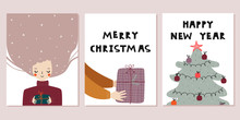Set Of Christmas Cards. Cute W...