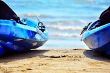 Two Blue Kayaks