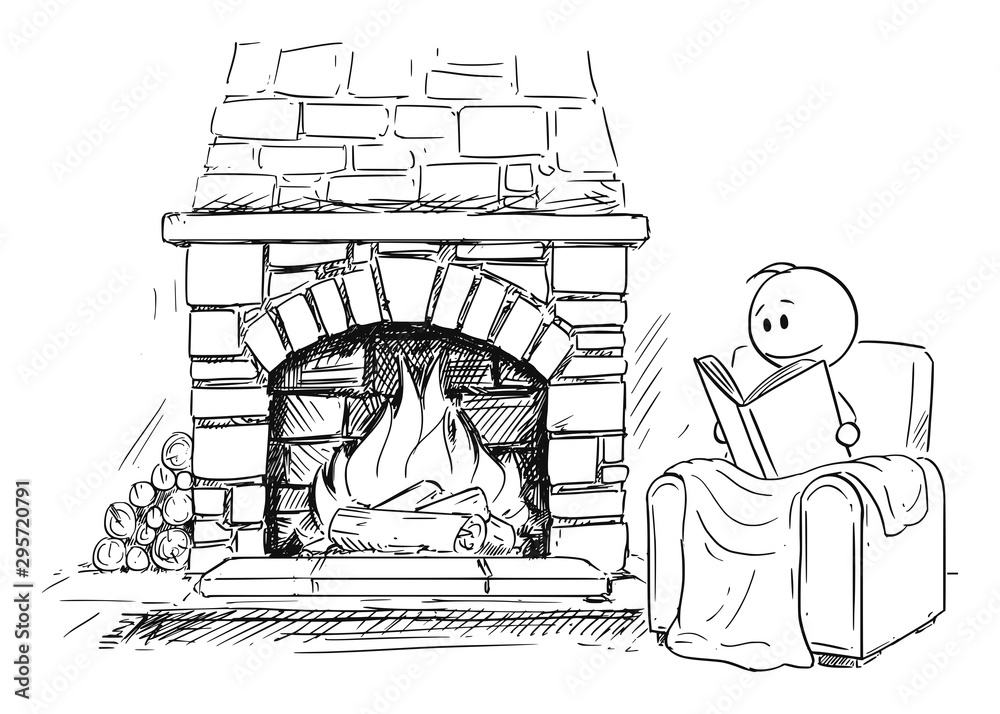Fototapety, obrazy: Vector cartoon stick figure drawing conceptual illustration of man siting under blanket in front of fireplace in comfortable armchair or chair and reading the book.