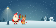 Cute Santa Claus And Reindeer With Gifts Under City Lantern On Winter Night Scene - Christmas Background