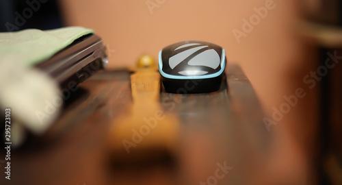Obraz na plátne  Mouse and Laptop on Desk
