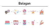 Balagan simple concept flat icons set