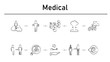 Medica simple concept icons set.