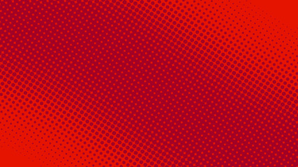 Modern red and crimson pop art background with halftone dots in comic style, ...