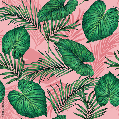 Foto auf Gartenposter Künstlich Watercolor painting green,coconut leaves seamless pattern with shadow on pink background.Watercolor llustration palm,pink leaf,tree tropical exotic leaf for wallpaper textile vintage Hawaii style.